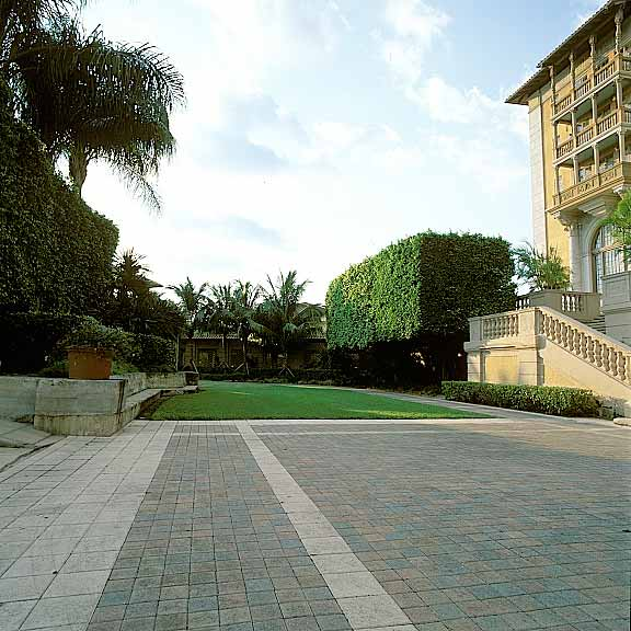 Porous Pavers were installed in the fire lane access areas at the Biltmore Hotel in Coral Gables, Florida, using Grasspave2.