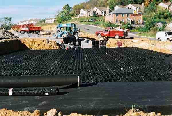 Underground Rainwater was installed at Joe Bowman Chevrolet, Harrisonburg, Virginia, using Rainstore3.