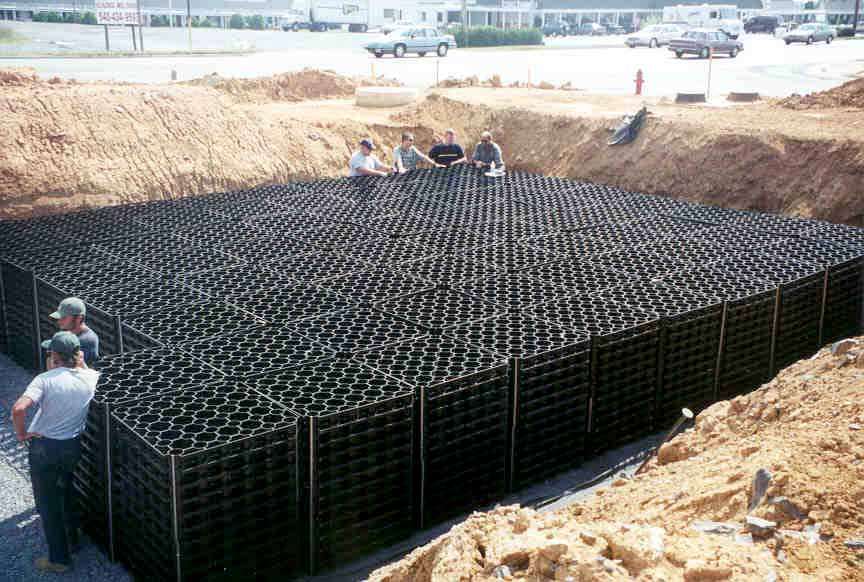 Underground-Rainwater Storage was installed at Charlie Obaugh GMC, Harrisonburg, Virginia, using Rainstore3.