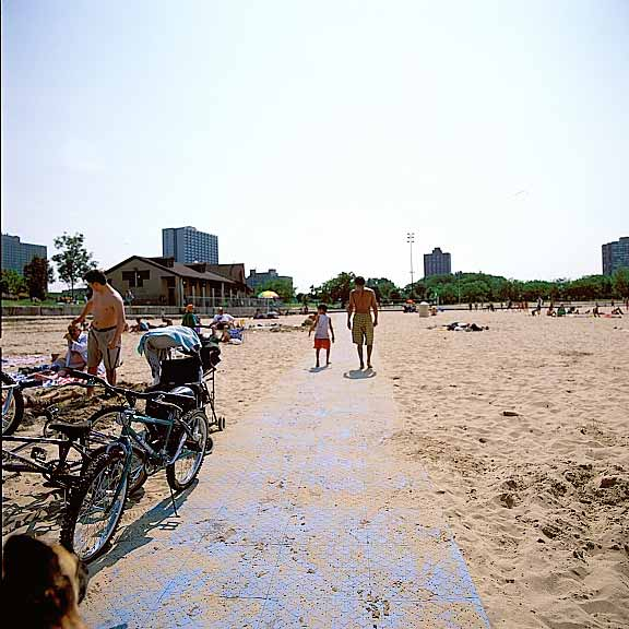Portable-Beach Mats were installed at Foster Beach and North Beach, Chicago, Illinois, using Beachrings2.