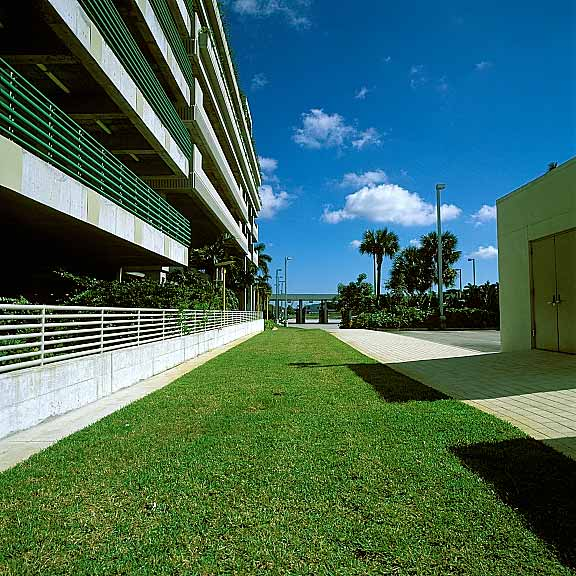 Turf Pavers were installed in the fire lane access areas at Fort Lauderdale International Airport Hibiscus Parking Garage, Fort Lauderdale, Florida, using Grasspave2.