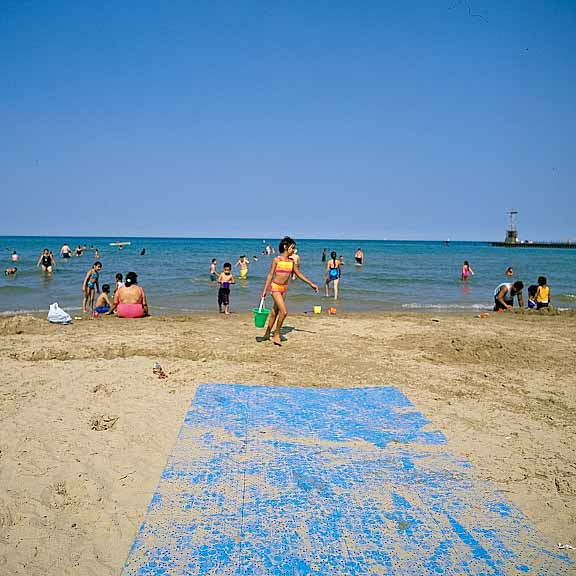 Wheelchair-Access Mats were installed at Foster Beach and North Beach, Chicago, Illinois, using Beachrings2.
