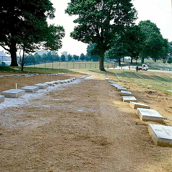 Permeable-Grass Pavement was installed to assist grave marker stabilization at Camp Nelson National Cemetery, Nicholasville, Kentucky, using Grasspave2.