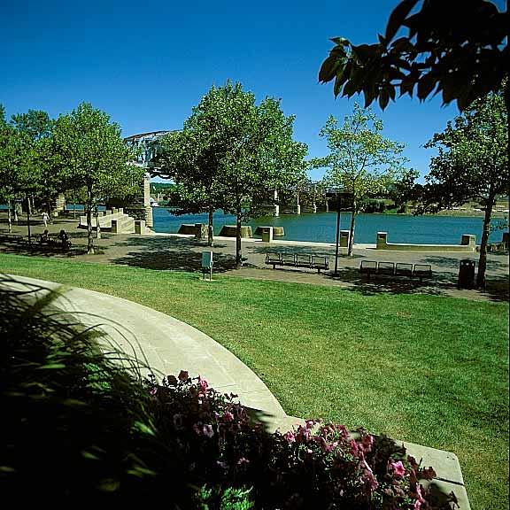 Pervious Parking was installed at Yeatman's Cove Park, Cincinnati, Ohio, using Grasspave2.
