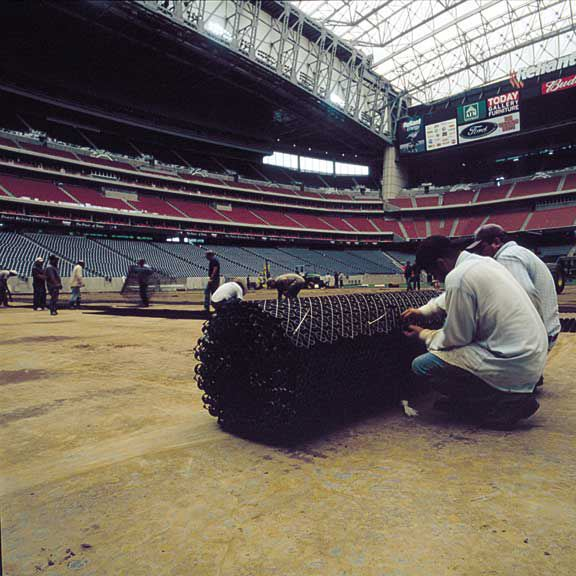 Drainage mats were installed in the Reliant Stadium Temporary Soccer Field, Houston, Texas, using Draincore2.