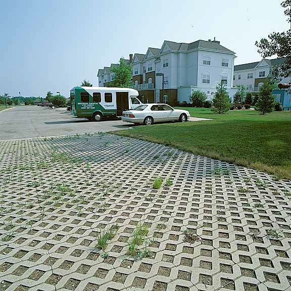 Porous paving was installed in the fire lane access areas, in addition to this other product, at Marriott Assisted Living in St. Charles, Michigan, using Grasspave2.
