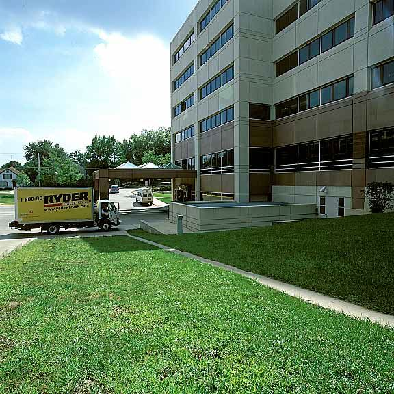 Grass reinforcement mat was installed between buildings to provide fire truck access at the University of Iowa Hospitals & Clinics in Marion, Iowa, using Grasspave2.