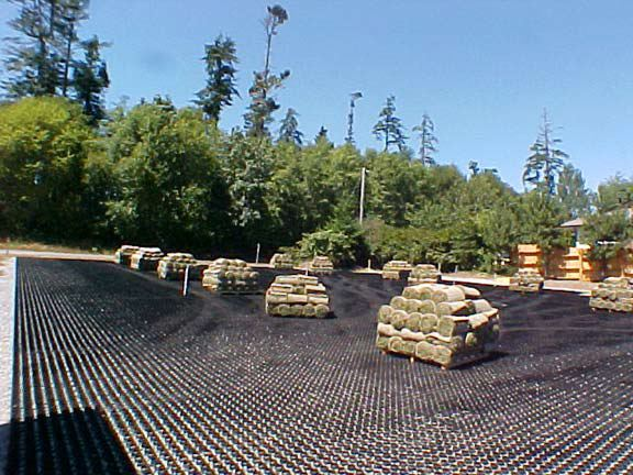 Grass reinforcement mats were installed to provide over-flow parking at Sooke Harbour House, Sooke (Victoria), British Columbia, using Grasspave2.