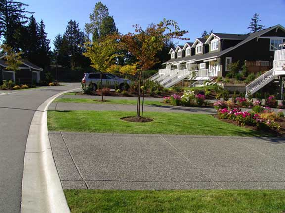 Permeable parking was installed to widen the road at the Hill Rise Terrace in Victoria, British Columbia, using Grasspave2.