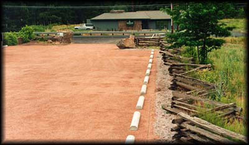 Gravel paving was installed in the parking lot at the Grand Canyon Trust in Flagstaff, Arizona, using Gravelpave2.