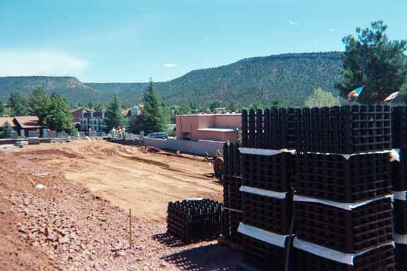Storm-water storage was installed at the La Terraza Center (Shopping), Sedona, Arizona, using Rainstore3.
