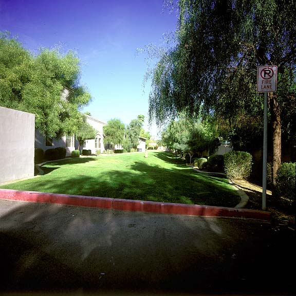Pervious grass paving was installed in the fire lane access areas in Tempe, Arizona, using Grasspave2.