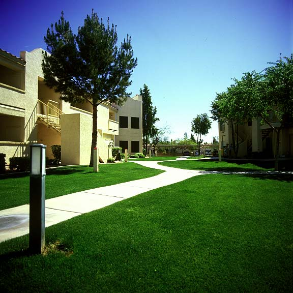 Turf-reinforcement mats were installed in the fire lane areas at the Allegro Apartments in Phoenix, Arizona, using Grasspave2.
