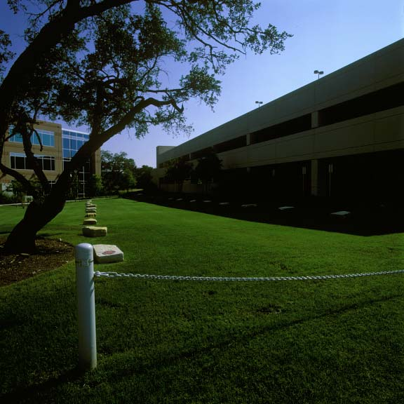 A grass-reinforcement system was installed in the fire lane access areas at Travis Oaks Office Building, Austin, Tennessee, using Grasspave2.