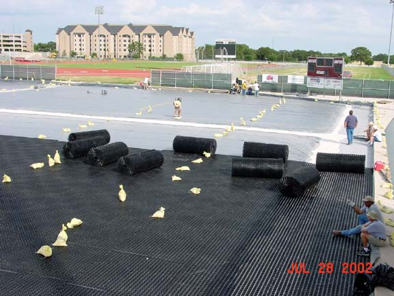 Drainage Mats were installed at the Texas A & M Soccer Field, College Station, Texas, using Draincore2.