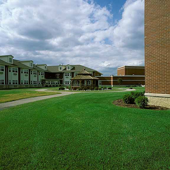 Grid Paver was installed in the fire lane access areas at Marian Village Apts. in Lockport, Illinois, using Grasspave2.