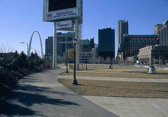 Pervious-grass parking was installed in the St. Louis Rams Stadium in St. Louis, Missouri, using Grasspave2.