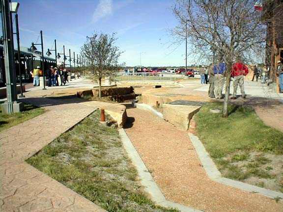 Aggregate paver was installed in the arroyo at the Donley County Safety Rest Area in Hedley, Texas, using Gravelpave2.