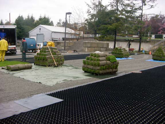 A grass reinforcement system was installed at the City of White Rock Operations Yard in White Rock, British Columbia, using Grasspave2.