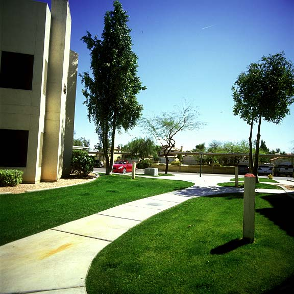 Grass-reinforcement mats were installed in the fire lane areas at the Allegro Apartments in Phoenix, Arizona, using Grasspave2.
