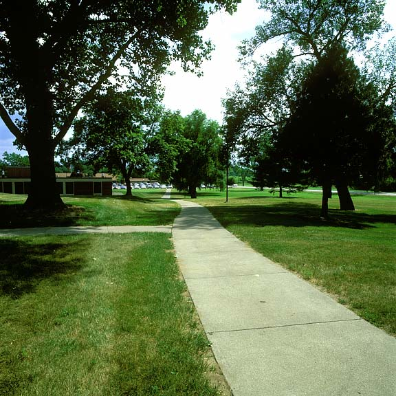 Turf-Reinforcement Mats were installed in the fire lane access areas at Health Source Saginaw in Saginaw, Michigan, using Grasspave2.