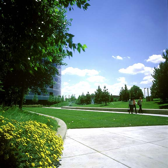 A Reinforcement-Turf System was installed in the fire lane access areas at the Orchard Road Corporate Building, Englewood, Colorado, using Grasspave2.