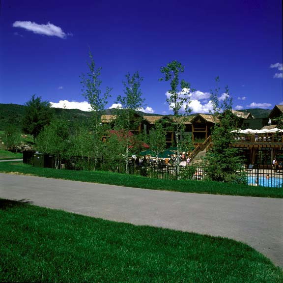 A turf reinforcement system was installed in fire-lane access areas at Snowmass Club in Snowmass, Colorado, using Grasspave2.