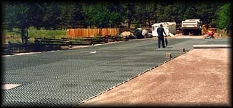 Porous pavement was installed in the parking lot at the Grand Canyon Trust in Flagstaff, Arizona, using Gravelpave2.