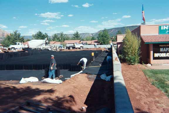 Rainwater storage was installed at the La Terraza Center (Shopping), Sedona, Arizona, using Rainstore3.