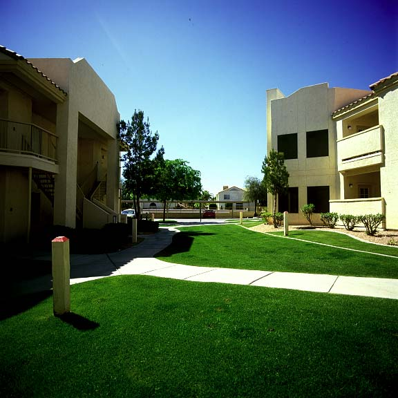 Pervious paving was installed in the fire lane areas at the Allegro Apartments in Phoenix, Arizona, using Grasspave2.
