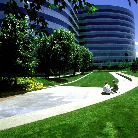 Turf Reinforcement was installed in the fire lane access areas at the Orchard Road Corporate Building, Englewood, Colorado, using Grasspave2.