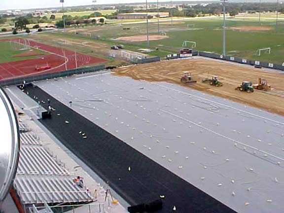 Drainage Layers were installed at the Texas A & M Soccer Field, College Station, Texas, using Draincore2.