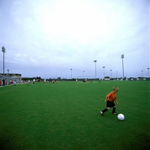 Underground-Drainage Layer was installed in the women's soccer field at College Station, Texas, using Draincore2.