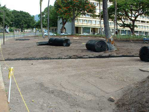 Turf-Stabilization Mats were installed in the overflow-parking lot at the East-West Center, Honolulu, Hawaii, using Grasspave2.
