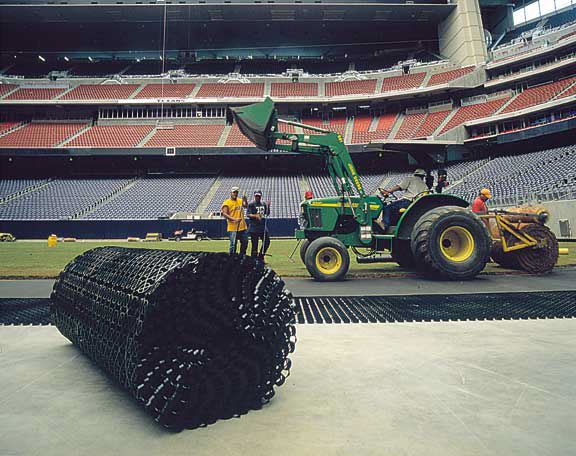 A subsurface drainage system was installed in the Reliant Stadium Temporary Soccer Field, Houston, Texas, using Draincore2.