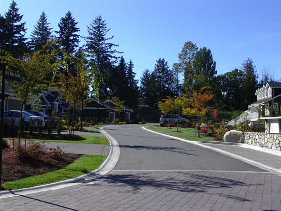 Turf pavers were installed to widen the road at the Hill Rise Terrace, Victoria, British Columbia, using Grasspave2.