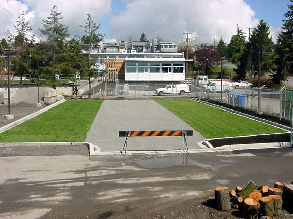 Permeable pavement and grass pavers were installed in the parking lot and works yard at the City of White Rock Operations Yard in White Rock, British Columbia, using Grasspave2 and Gravelpave2.