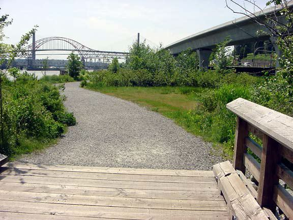 Aggregate paver was installed on this trail at Saperton Landing, New Westminster, British Columbia, using Gravelpave2.