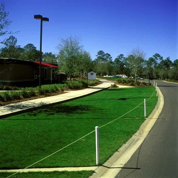 Turf reinforcement was installed in off-street parking areas at the Regatta Bay Golf Course in Destin, Florida, using Grasspave2.