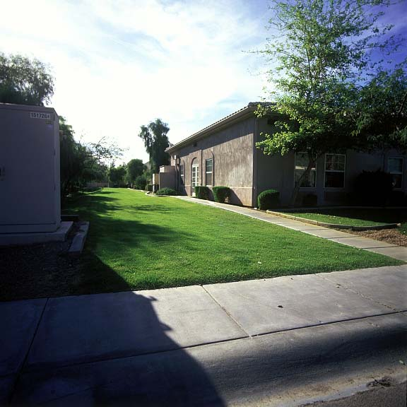 Permeable parking was installed in the fire lane access areas at Carestone Assisted Living in Tempe, Arizona, using Grasspave2.