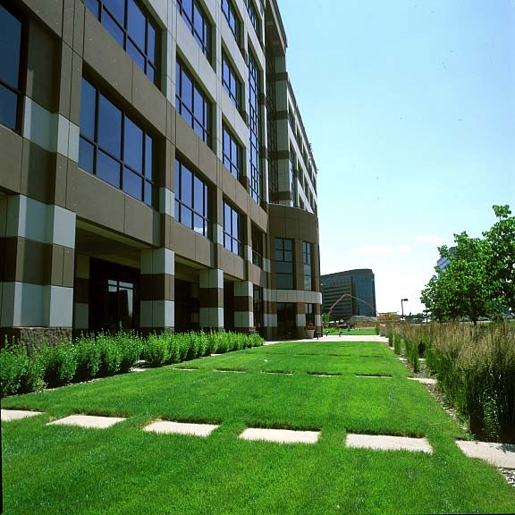 Reinforced-Grass Pavers were installed in the fire lane access areas at the J D Edwards Corporate Headquarters, Denver, Colorado, using Grasspave2.