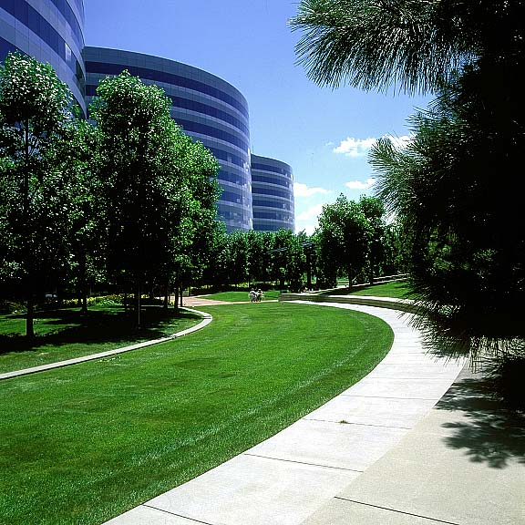 Permeable fire lane was installed in the fire lane access areas at the Orchard Road Corporate Building, Englewood, Colorado, using Grasspave2.