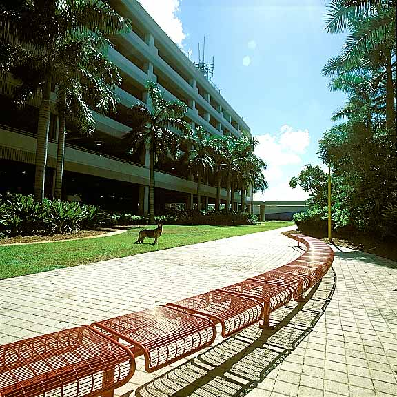 Permeable Pavers were installed in the fire lane access areas at Fort Lauderdale International Airport Hibiscus Parking Garage, Fort Lauderdale, Florida, using Grasspave2.