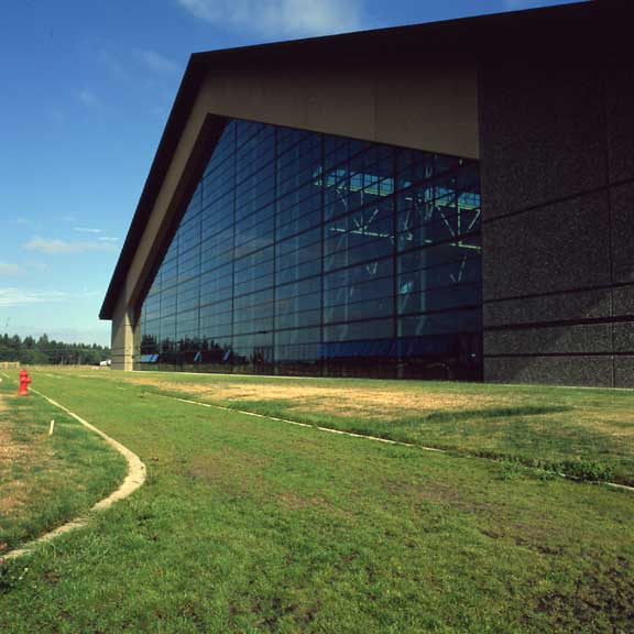 Permeable Pavers were installed in the fire lane access area of the Evergreen Aviation Museum, McMinnville, Oregon, using Grasspave2.