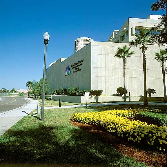 Pervious Pavers were installed in the fire lane access areas at The News Center, Tampa, Florida, using Grasspave2.