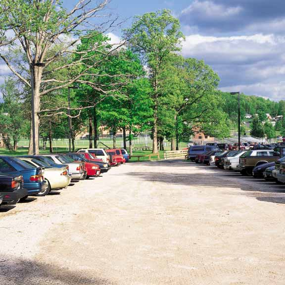 Permeable-Aggregate Pavers were installed in the parking areas at Frostburg State University, Frostburg, Maryland, using Gravelpave2.