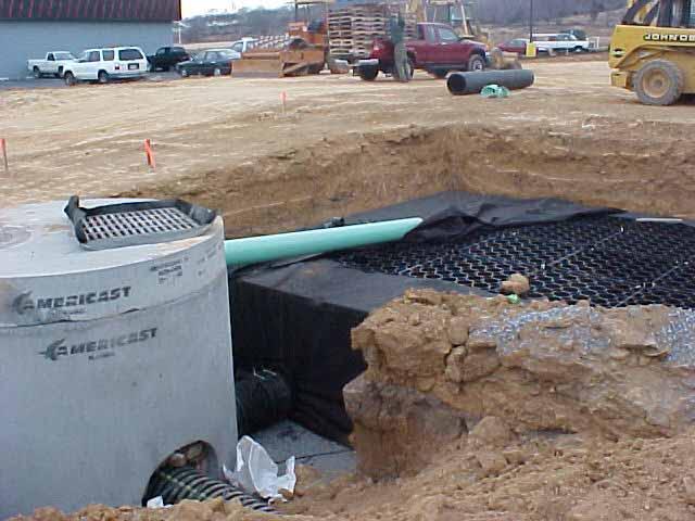 Underground-Water Storage was installed at Stone Mountain Carpet, Harrisonburg, Virginia, using Rainstore3.