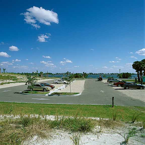 Aggregate Paving was installed, long with asphalt, in parking lots at Bowditch Point Regional Park, Fort Myers Beach, Florida, using Gravelpave2.