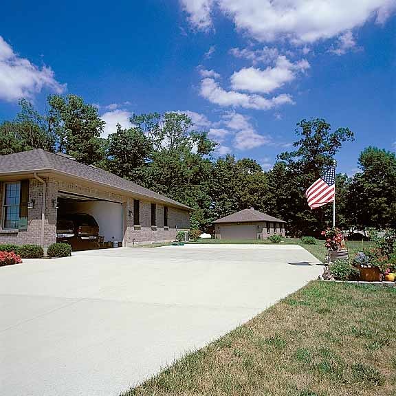 Pervious-Grass Paving was installed in the driveway area around the detached garage at the Ramsey Residence, Brookville, Ohio, using Grasspave2.