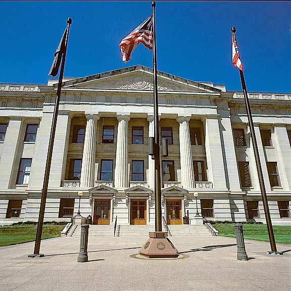 Turf Pavers were installed in the fire lane access areas at the Ohio Statehouse Capitol and Veterans Plaza, Columbus, Ohio, using Grasspave2.